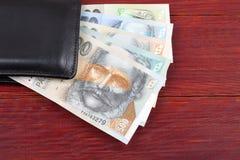 Dinero eslovaco en la cartera negra Fotografía de archivo libre de regalías