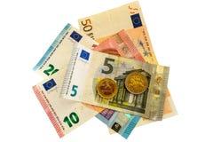 Dinero euro aislado Imágenes de archivo libres de regalías