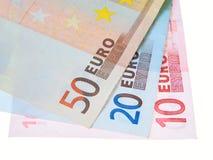 Dinero euro aislado en blanco Imagen de archivo