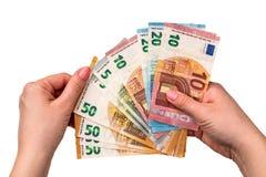 Dinero euro aislado en un fondo blanco Fotografía de archivo libre de regalías