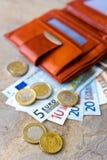 Dinero euro - billetes de banco y monedas - en cartera marrón Fotografía de archivo