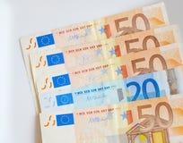 Dinero euro del billete de banco Imagen de archivo libre de regalías