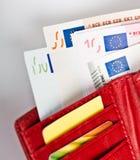 Dinero euro en cartera Fotos de archivo