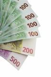 Dinero euro en un fondo blanco. Fotos de archivo libres de regalías