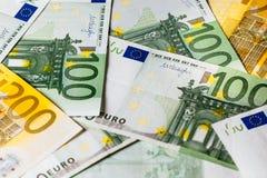 Dinero euro fondo euro del efectivo Billetes de banco euro del dinero Fotografía de archivo