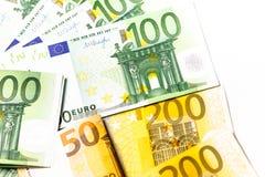 Dinero euro fondo euro del efectivo Billetes de banco euro del dinero Foto de archivo libre de regalías
