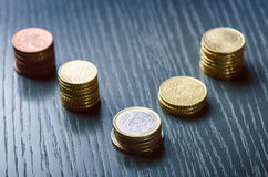 Dinero euro Las monedas están en un fondo oscuro Moneda de Europa Balanza de dinero Edificio de monedas Monedas de diferente Imagen de archivo libre de regalías