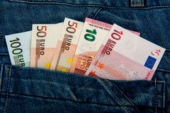 Dinero euro Notas del dinero economía europea foto de archivo libre de regalías