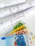 Dinero EURO y planes Fotografía de archivo libre de regalías