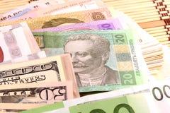 Dinero europeo y americano Imágenes de archivo libres de regalías