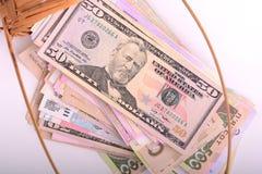 Dinero europeo y americano en cesta de madera Foto de archivo libre de regalías