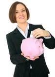 Dinero feliz del ahorro de la mujer Imágenes de archivo libres de regalías