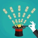 Dinero hacia fuera el concepto del truco mágico del sombrero Fotos de archivo