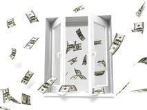 Dinero hacia fuera la ventana stock de ilustración