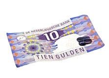 Dinero holandés viejo: Nota de diez florines fotografía de archivo