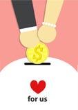 Dinero, hucha, banco, reserva, ahorro, mujer, hombre, vector, savi Foto de archivo libre de regalías