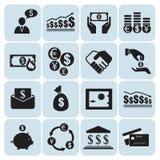 Dinero, iconos de las finanzas Foto de archivo libre de regalías