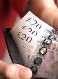 Dinero inglés en una carpeta Foto de archivo libre de regalías