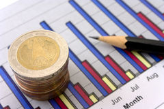 Dinero, lápiz y diagrama Foto de archivo