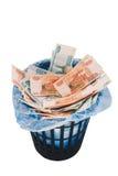 Dinero a la basura Fotos de archivo