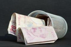Dinero lanzado lejos Imágenes de archivo libres de regalías