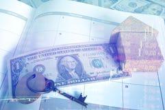 Dinero mensual del ahorro y del planeamiento para las finanzas del negocio del costo y el concepto del préstamo Foto de archivo