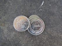 Dinero, moneda del penique Foto de archivo libre de regalías