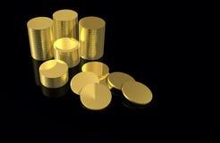 Dinero - monedas de oro Fotografía de archivo libre de regalías