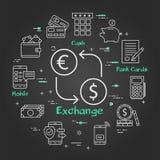 Dinero negro del concepto de las finanzas e intercambio de moneda ilustración del vector