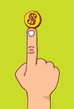 Dinero o moneda de equilibrio en un finger Fotografía de archivo