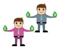 Dinero - oficina y hombres de negocios del personaje de dibujos animados del vector del concepto del ejemplo Foto de archivo