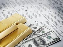 Dinero, oro y página del mercado de acción Imagenes de archivo