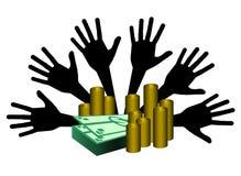Dinero para arriba Imagenes de archivo
