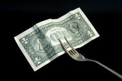 Dinero para el alimento Imágenes de archivo libres de regalías