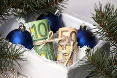 Dinero para la Navidad Fotografía de archivo