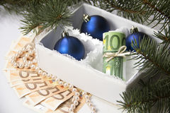 Dinero para la Navidad Foto de archivo