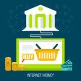 Dinero plano de Internet en el ordenador portátil del fondo del banco Fotos de archivo