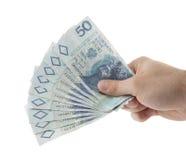 Dinero polaco a disposición. Foto de archivo