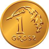 Dinero polaco reverso una moneda de cobre del Grosz Foto de archivo libre de regalías