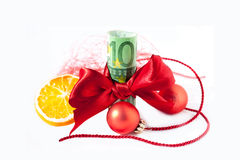 Dinero presente para la Navidad fotografía de archivo libre de regalías