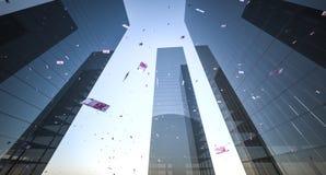 Dinero que cae de rascacielos Foto de archivo