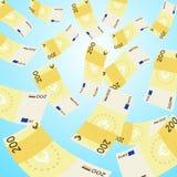 Dinero que cae del cielo, el caer euro de 200 billetes de banco Fotografía de archivo
