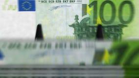 """Dinero que cuenta euro del †""""100 de la máquina almacen de metraje de vídeo"""