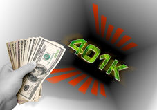 Dinero que lanza en el 401k ilustración del vector