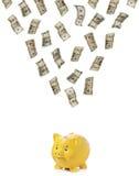 Dinero que llueve abajo en un guarro Imagen de archivo