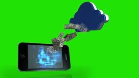 Dinero que sale de un smartphone y que viene en una nube en fondo de pantalla verde stock de ilustración