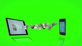 Dinero que sale de una tableta y que viene en un smartphone en fondo de pantalla verde stock de ilustración