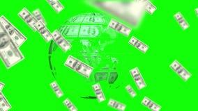 Dinero que se adelanta y tierra hecha de dólares en fondo de pantalla verde libre illustration