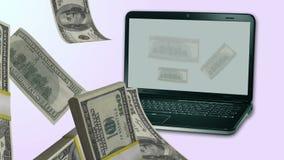 Dinero que vierte hacia fuera de un ordenador portátil hecho con software de los AE cs5 stock de ilustración