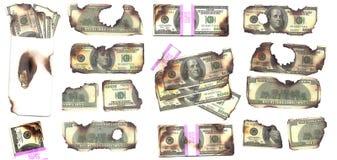 Dinero quemado Fotografía de archivo libre de regalías